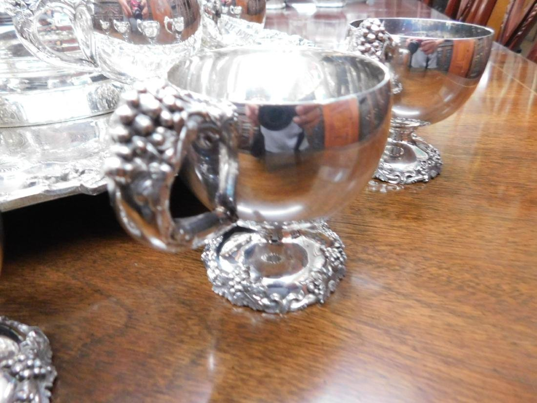 Silver on copper hallmarked punch bowl set - 3