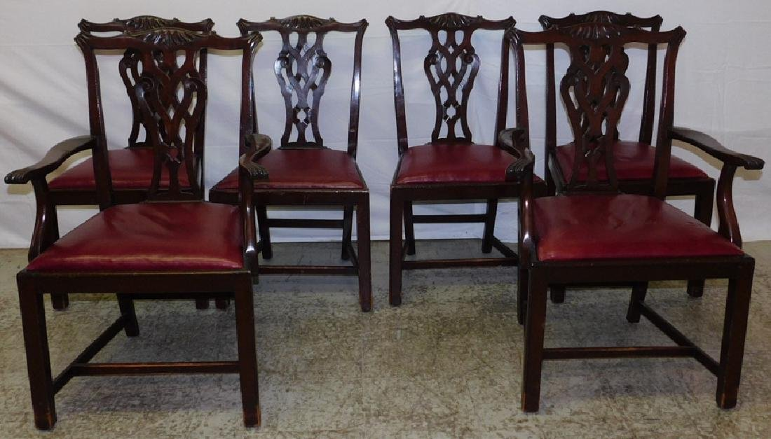 6 mahogany Chippendale leather set chairs