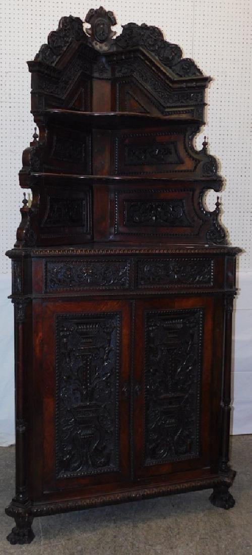 Ornate Italian walnut corner cupboard