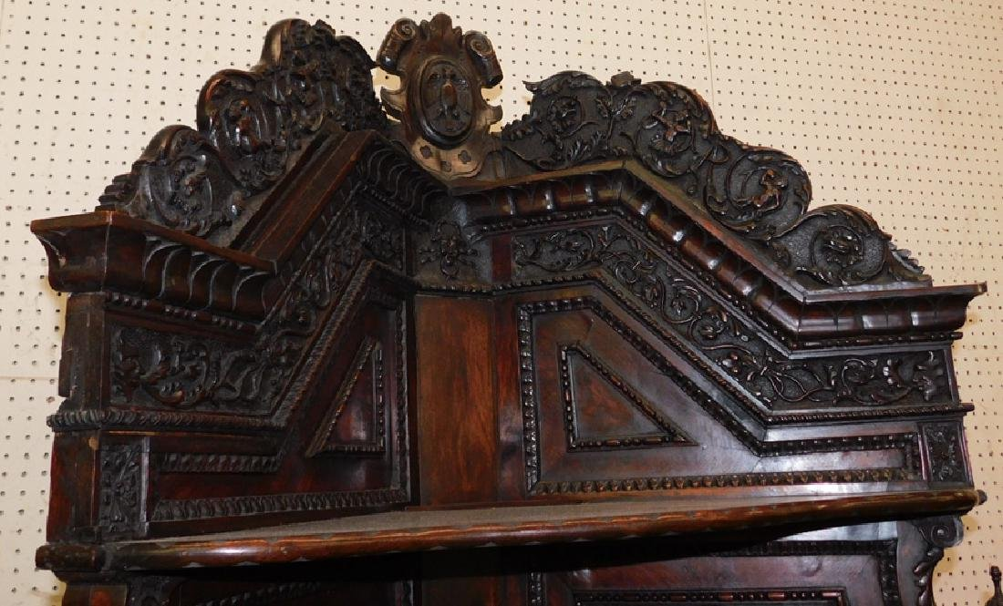 Ornate Italian walnut corner cupboard - 3