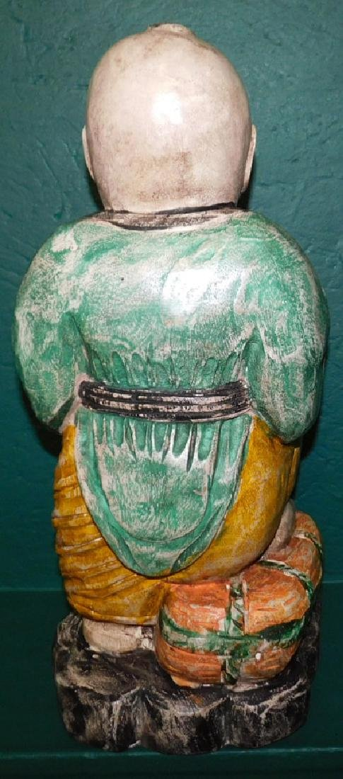 Carved painted wooden Asian boy - 3