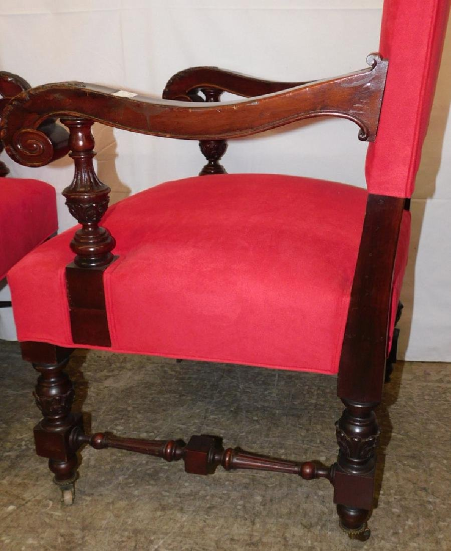 Pair of heavy carved mahogany throne chairs - 5