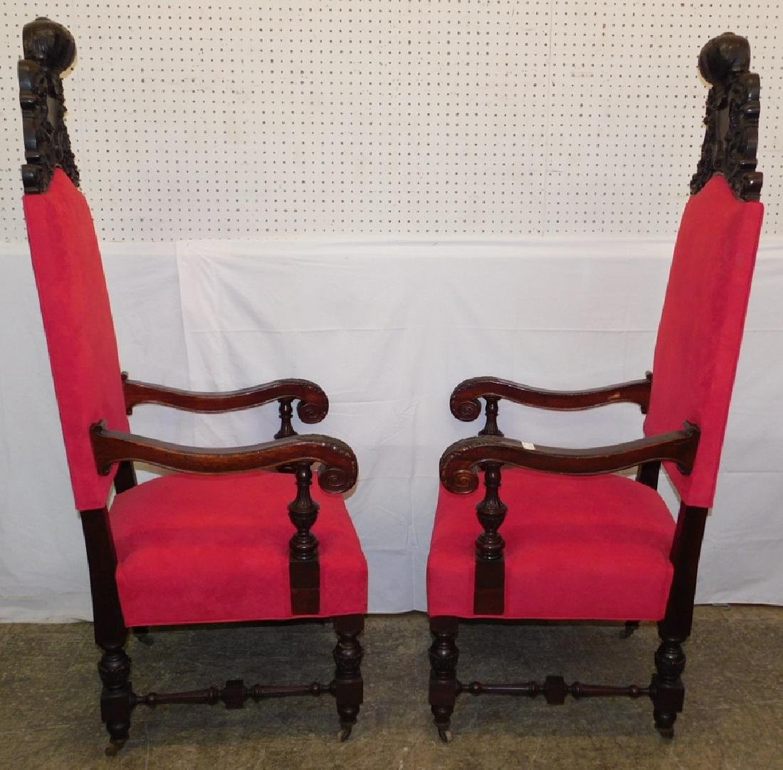 Pair of heavy carved mahogany throne chairs - 6