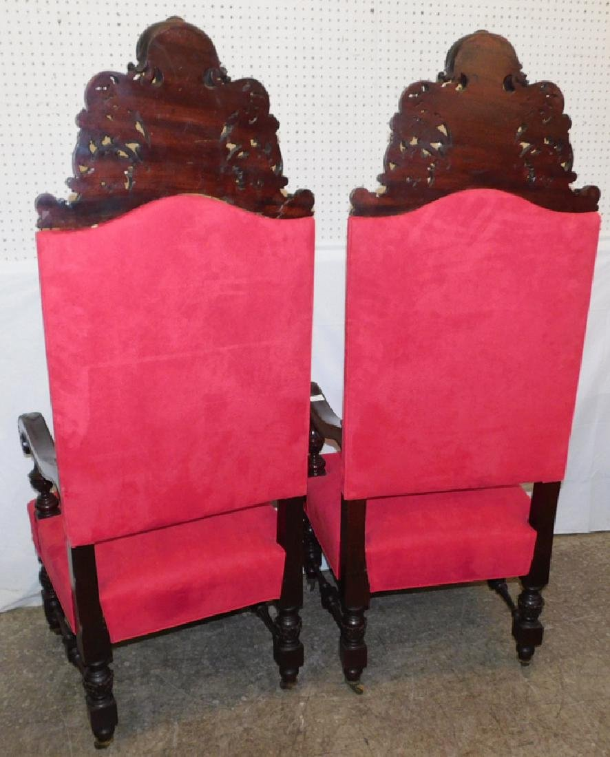 Pair of heavy carved mahogany throne chairs - 7