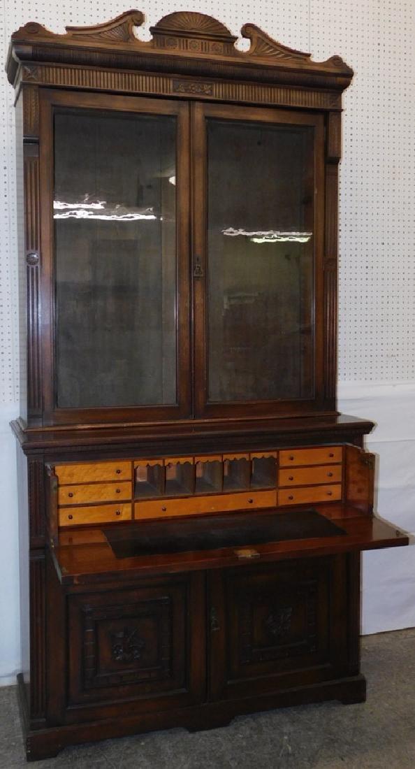 English mahogany secretary, no shelves - 2