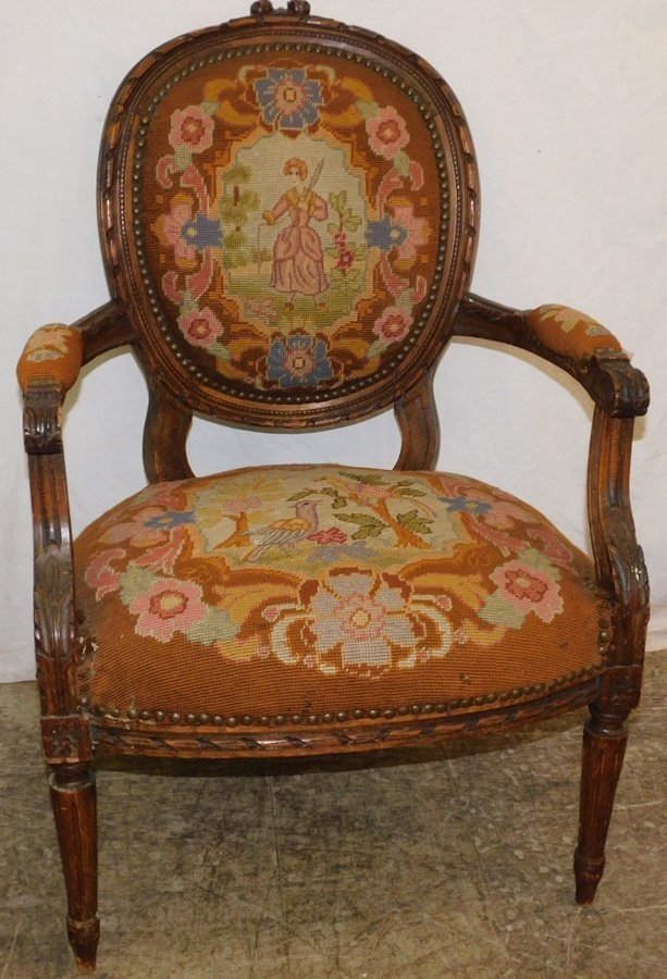 Carved French needlepoint fauteuil