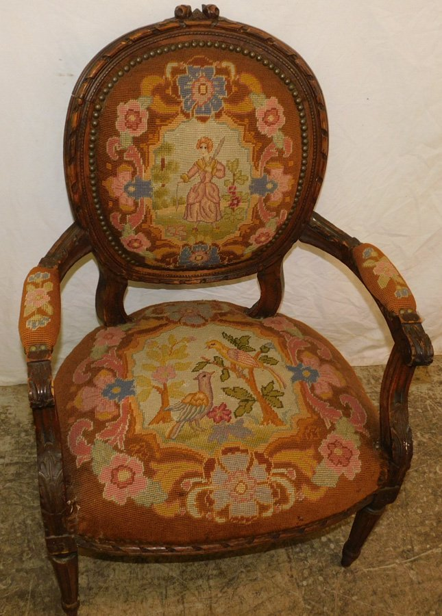 Carved French needlepoint fauteuil - 2