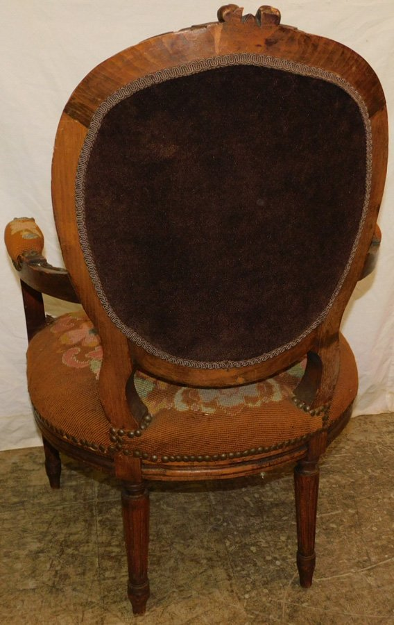 Carved French needlepoint fauteuil - 5