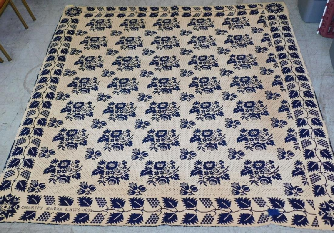 Signed Charity Maria Laws,1835 wool coverlet