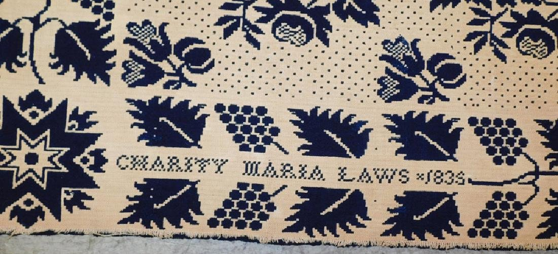 Signed Charity Maria Laws,1835 wool coverlet - 2