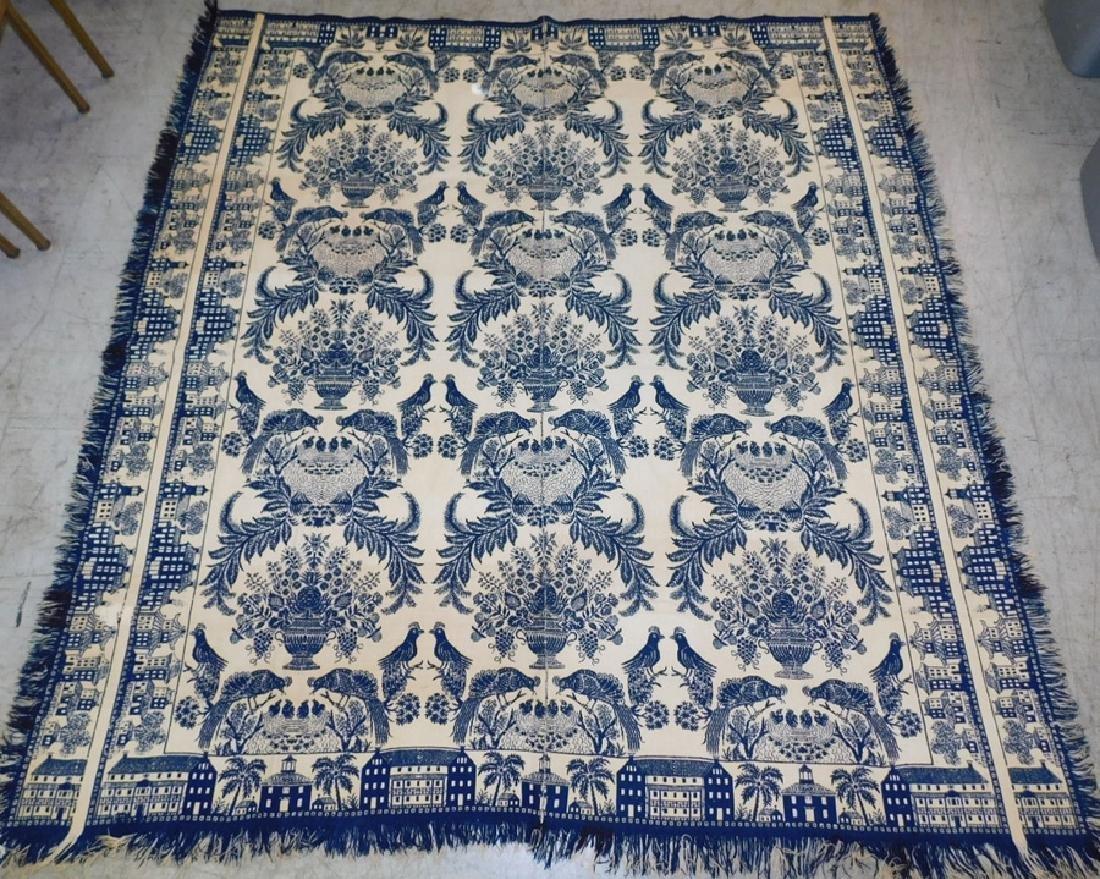 Hand woven wool coverlet with bird motif