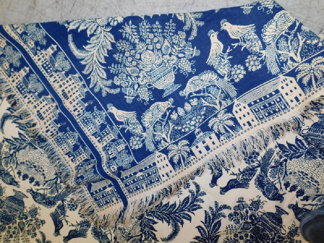 Hand woven wool coverlet with bird motif - 2