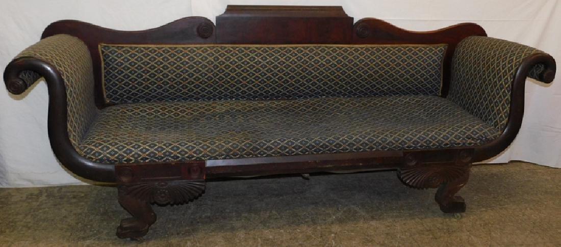Empire mahogany clawfoot sofa
