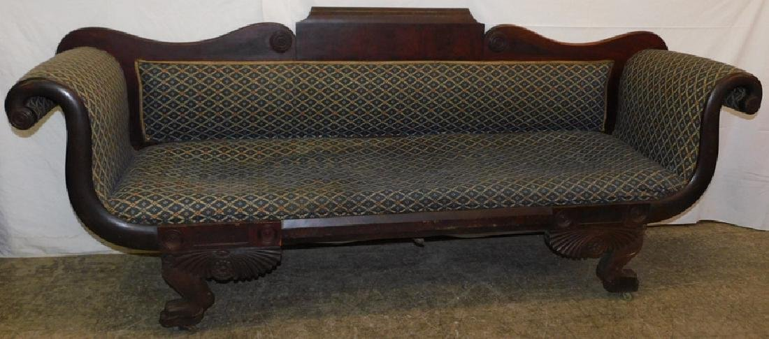 Empire mahogany clawfoot sofa