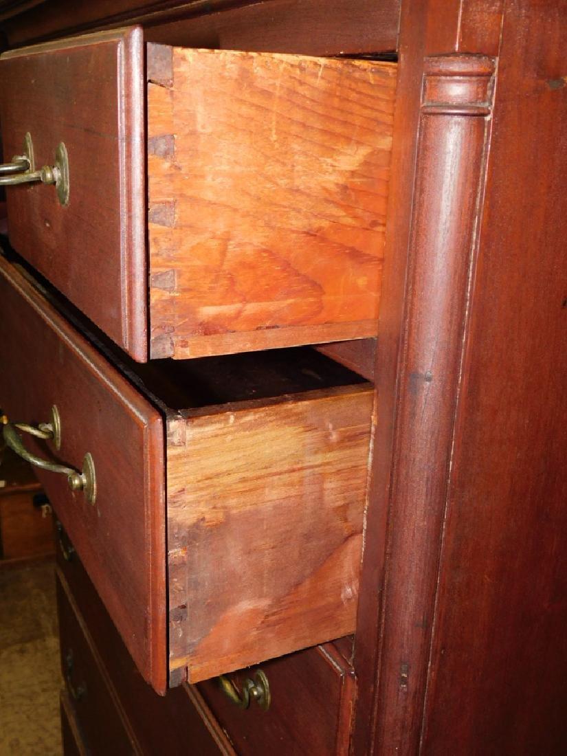 18th C NE walnut tall chest with orig hardware - 2