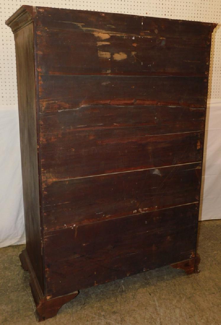 18th C NE walnut tall chest with orig hardware - 3