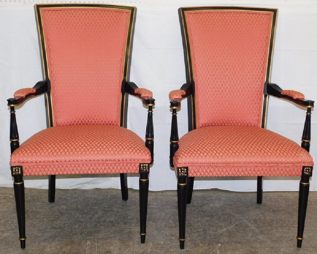 Pair of black Italian upholstered arm chairs