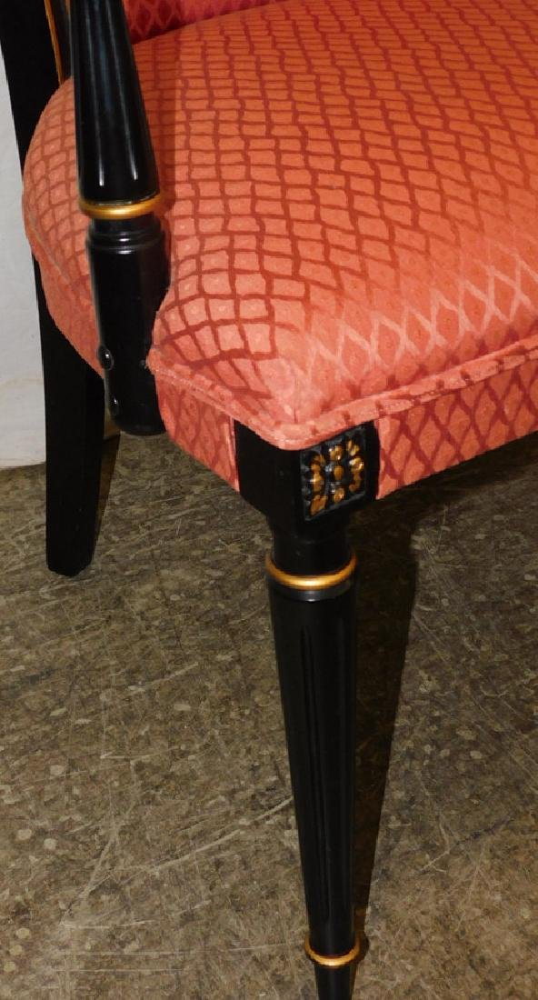 Pair of black Italian upholstered arm chairs - 2