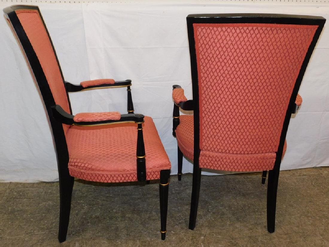 Pair of black Italian upholstered arm chairs - 3