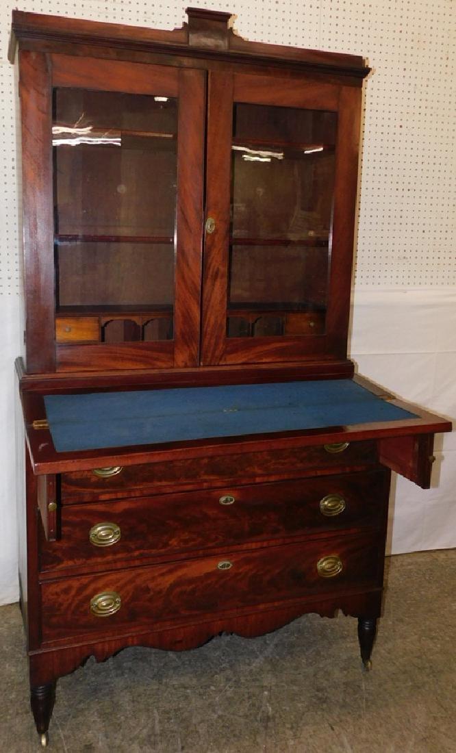 Sheraton mahogany glass front secretary - 2