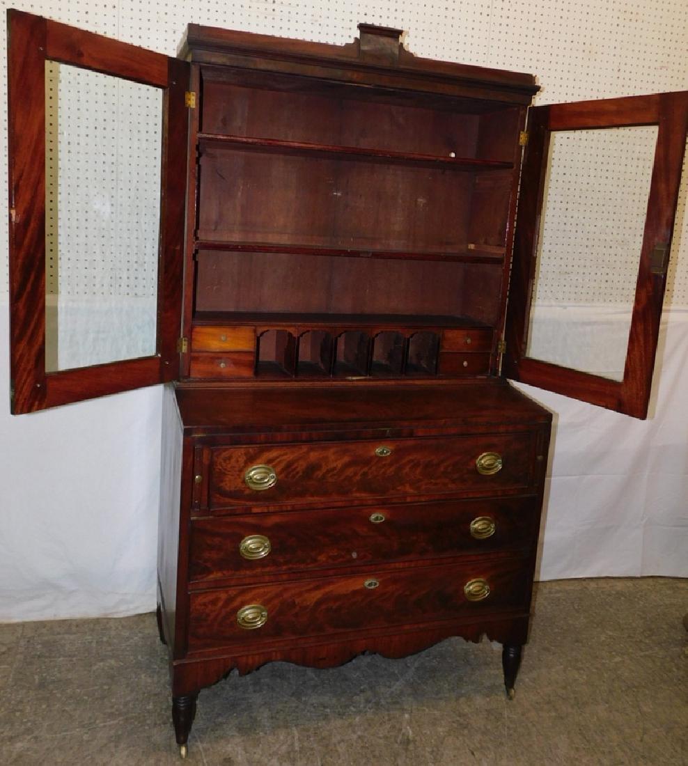 Sheraton mahogany glass front secretary - 3