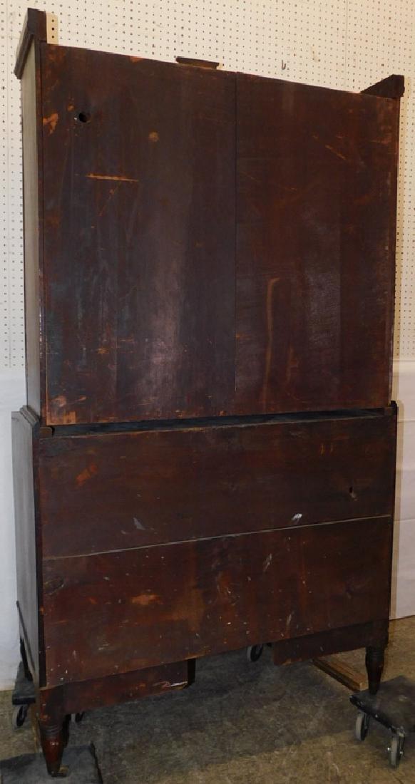Sheraton mahogany glass front secretary - 5