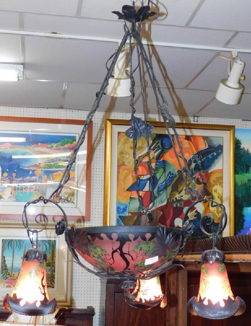 Art glass and wrought iron 3 light chandelier