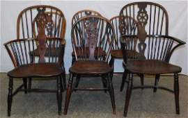 6 Windsor wagon wheel back elmwood chairs