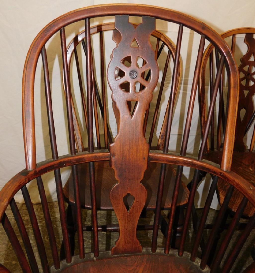 6 Windsor wagon wheel back elmwood chairs - 2