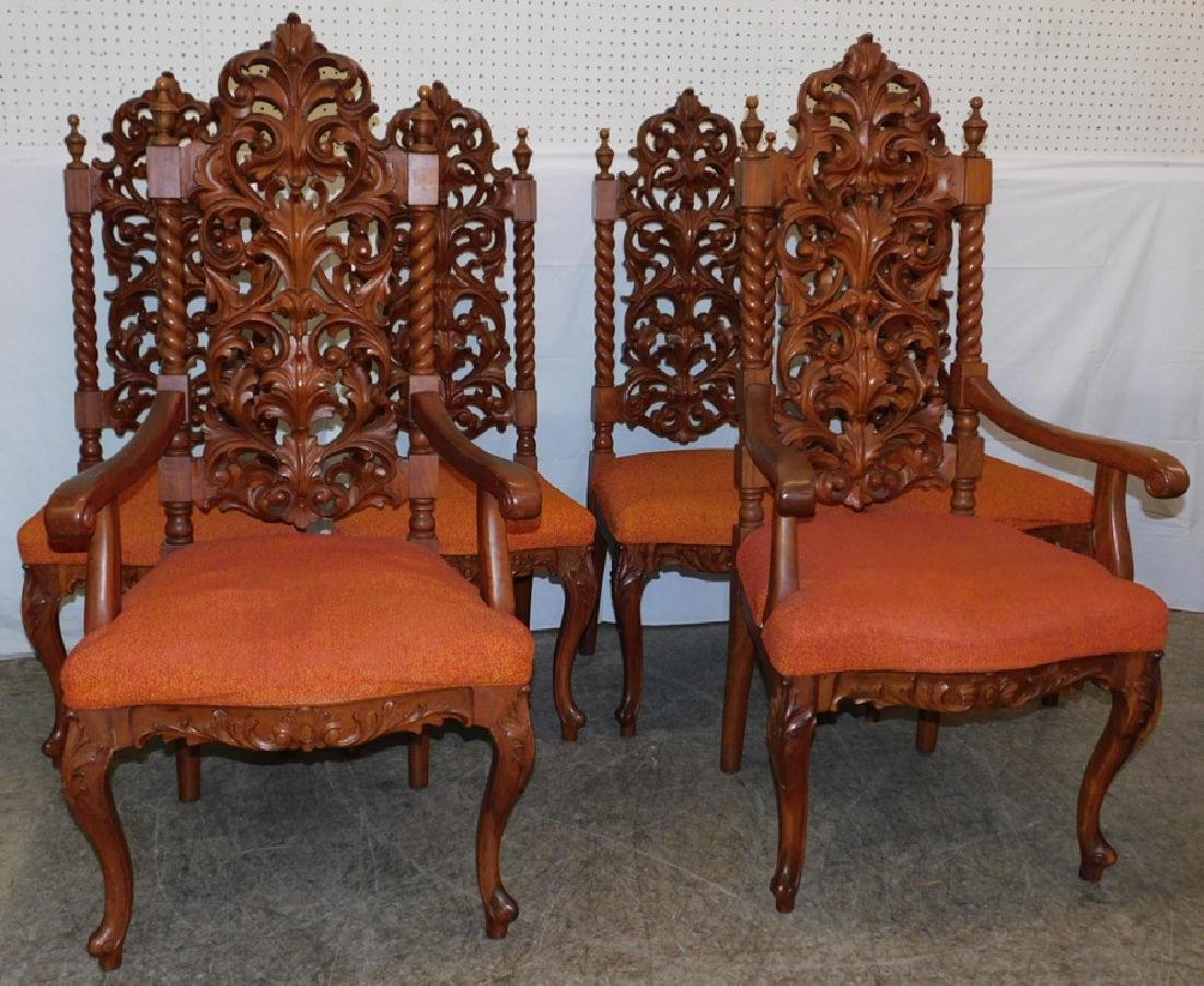 6 Victorian style rosewood carved back chairs