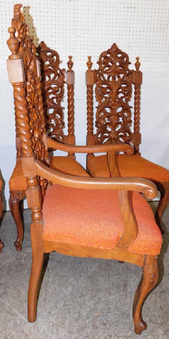 6 Victorian style rosewood carved back chairs - 3