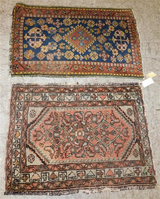 2 Antique Handmade Oriental Throw Rugs