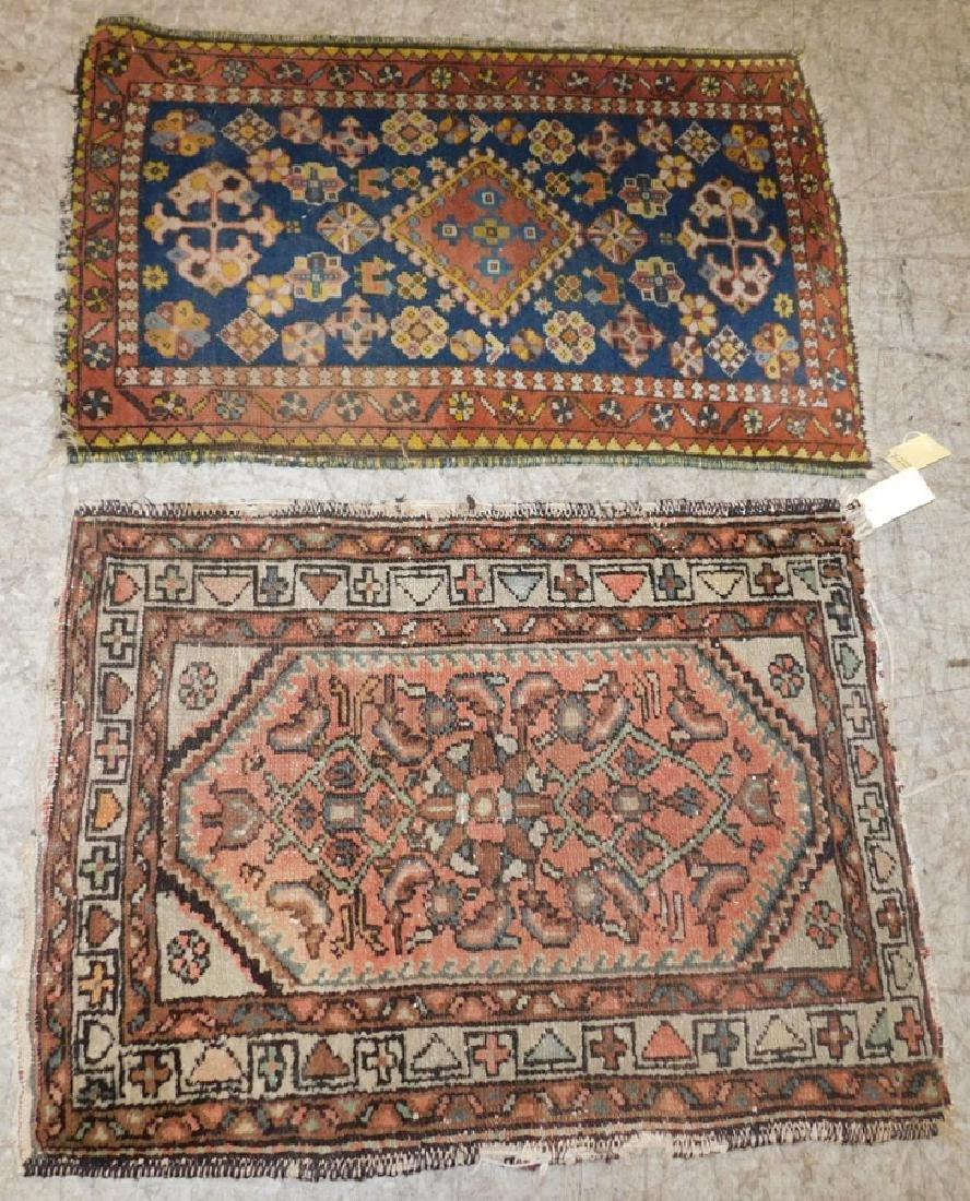 2 antique handmade Oriental throw rugs