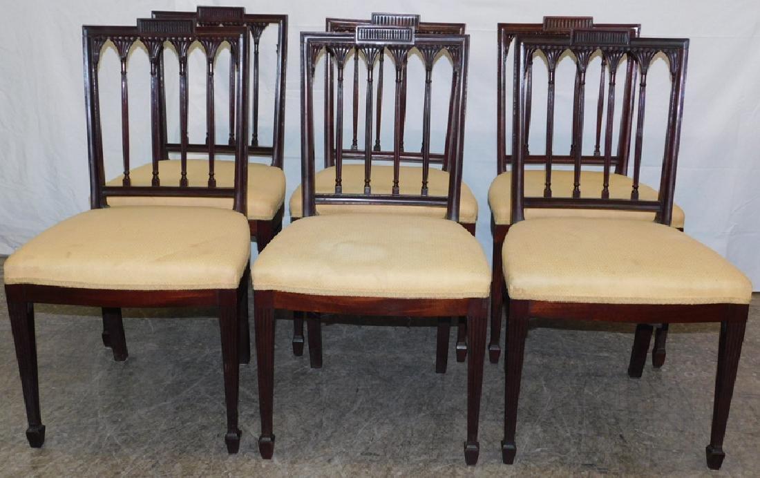 Set of 6 mahogany Hepplewhite side chairs