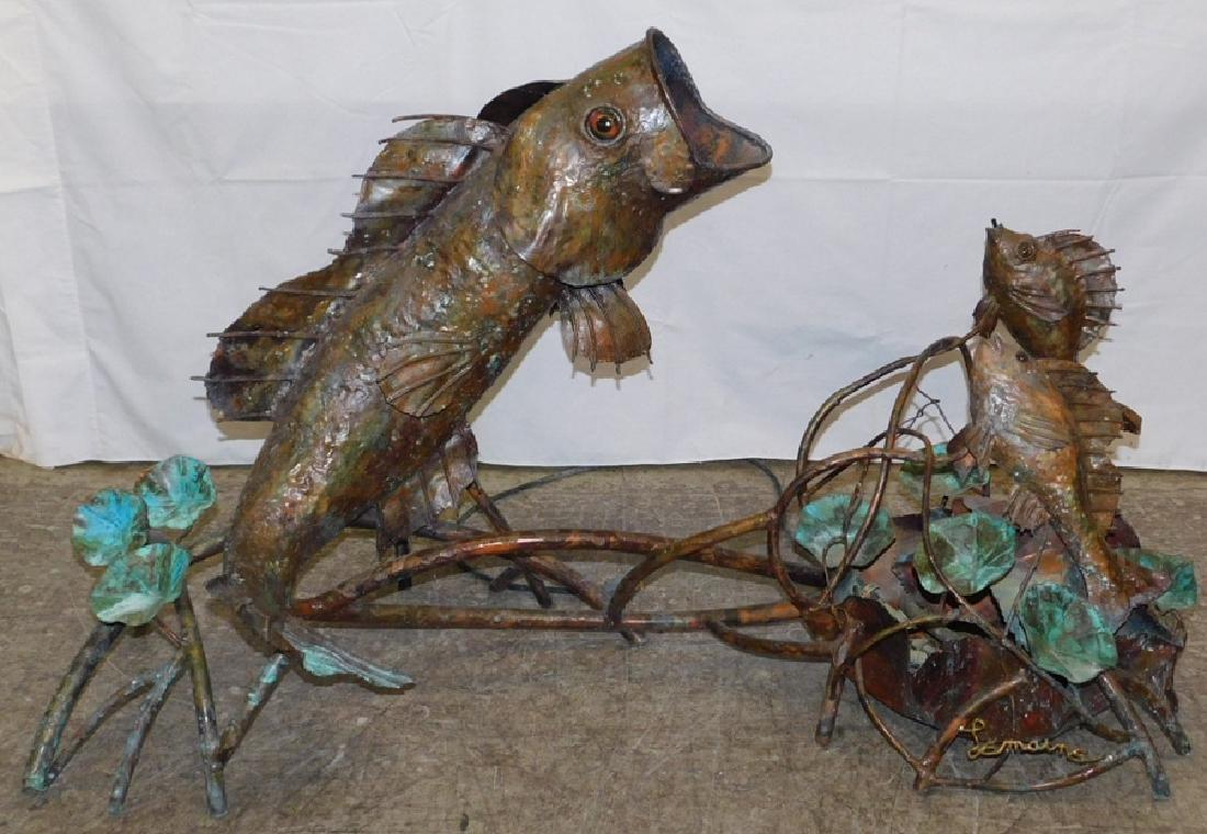 Copper fish water fountain