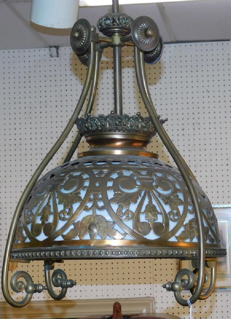 Brass w/ bristol glass shade parlor chandelier