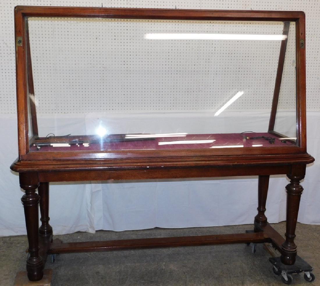 19th C walnut upright display showcase