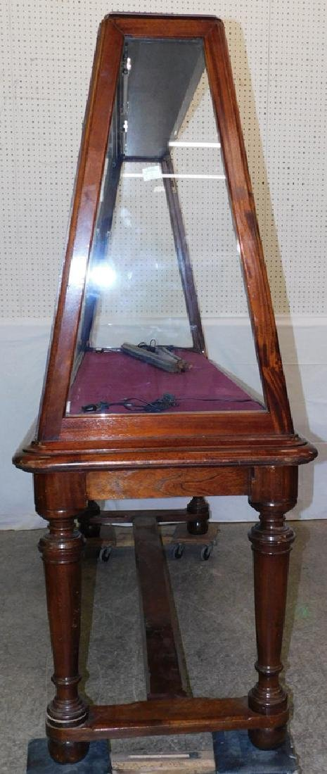 19th C walnut upright display showcase - 2