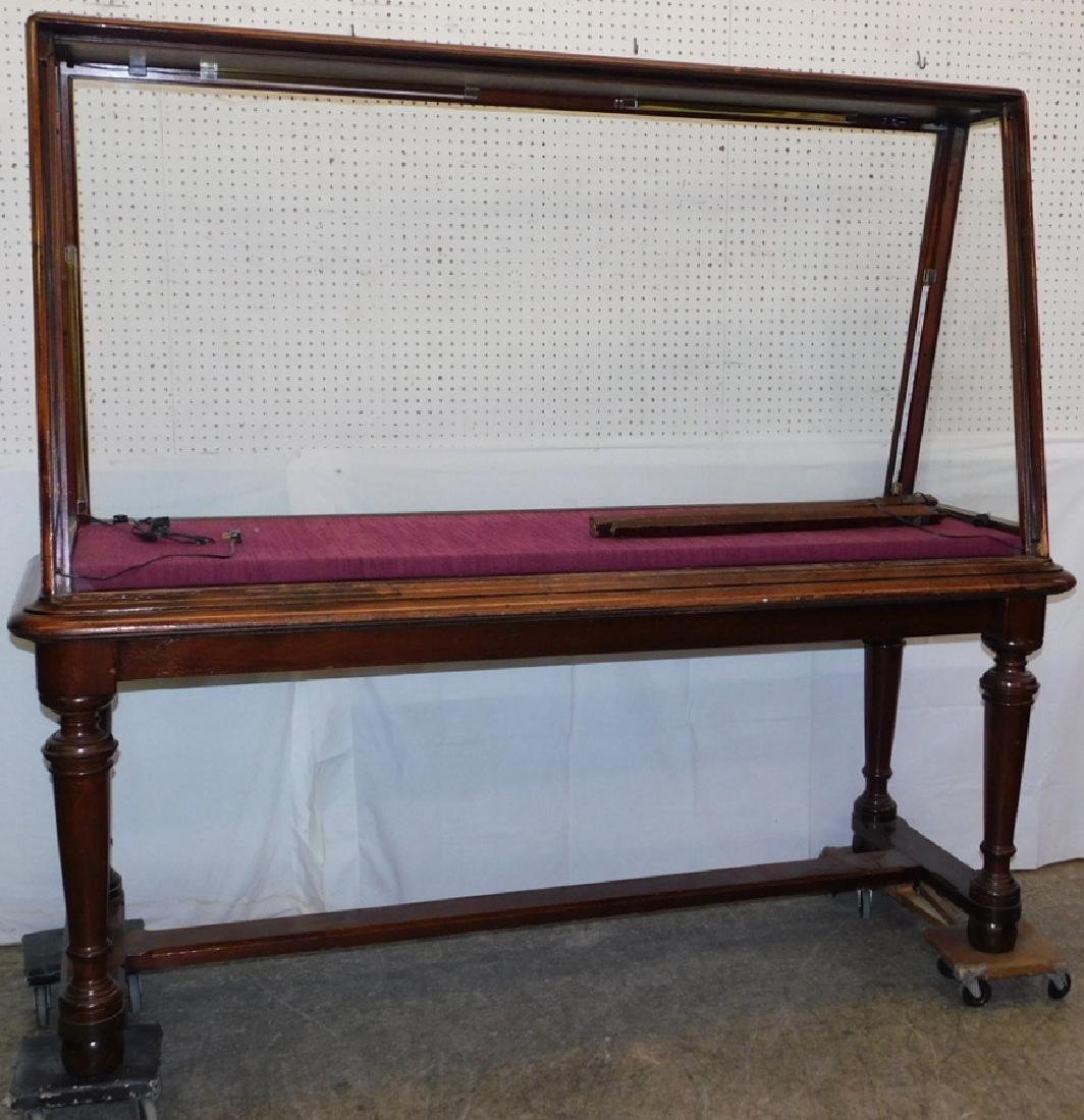 19th C walnut upright display showcase - 3