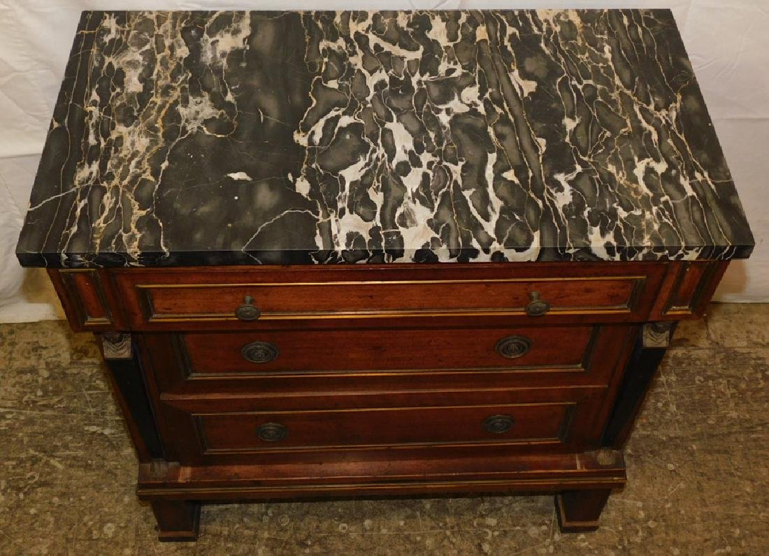 Marble top 3 drawer French commode - 2