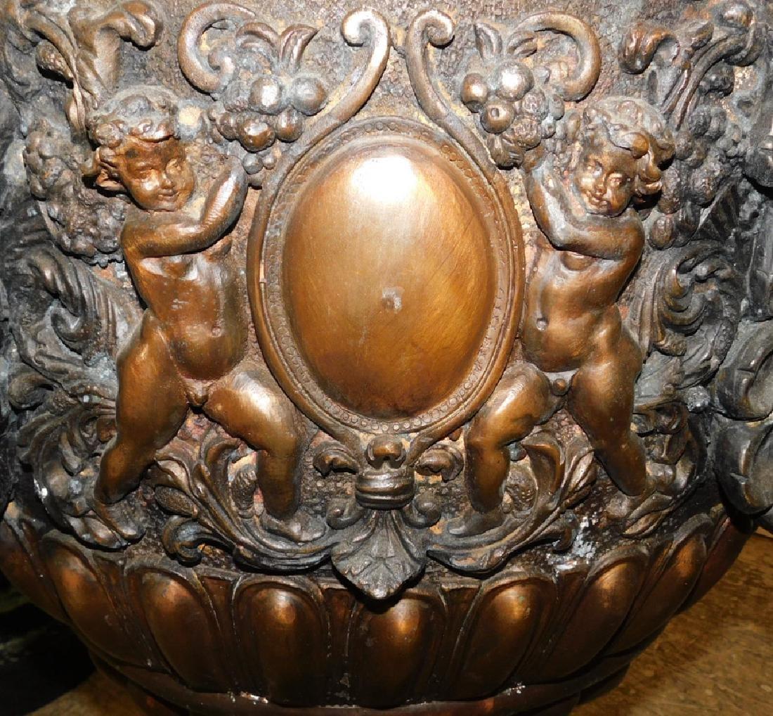 Pair of bronze ornate urns - 4