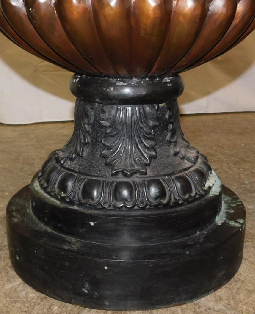 Pair of bronze ornate urns - 5