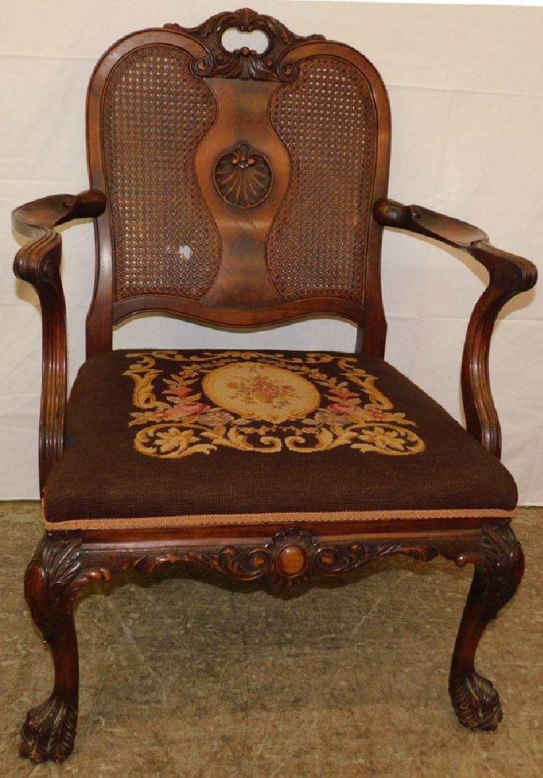 Cane back walnut hairy paw foot chair