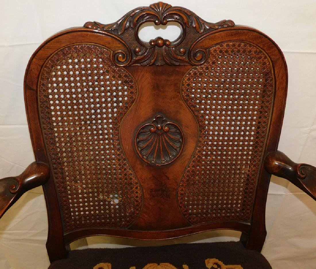 Cane back walnut hairy paw foot chair - 2