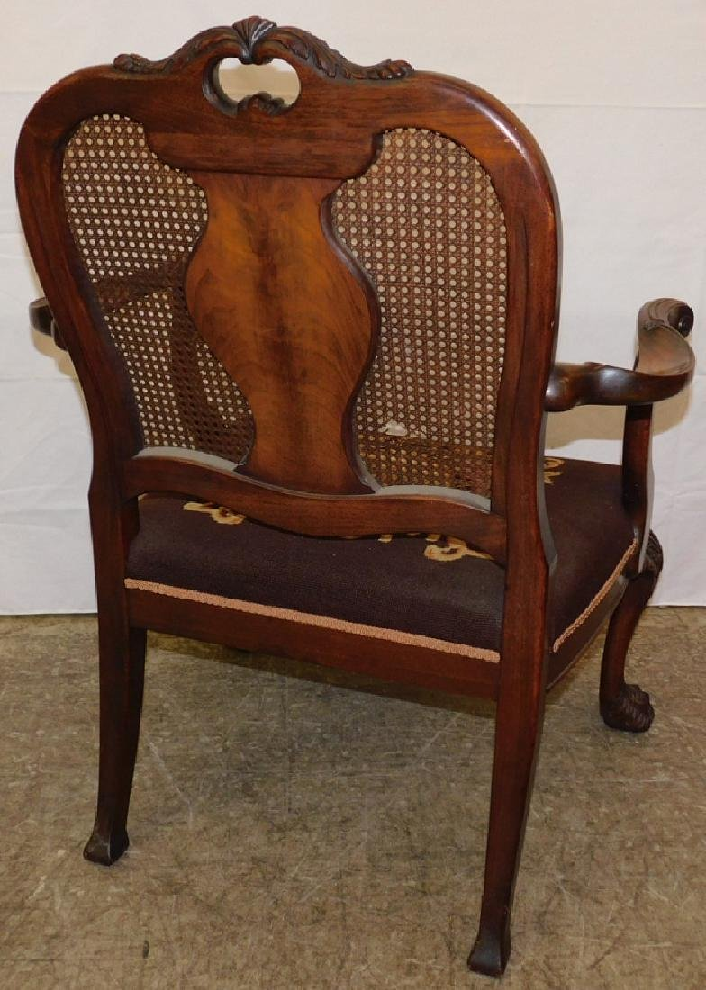Cane back walnut hairy paw foot chair - 4