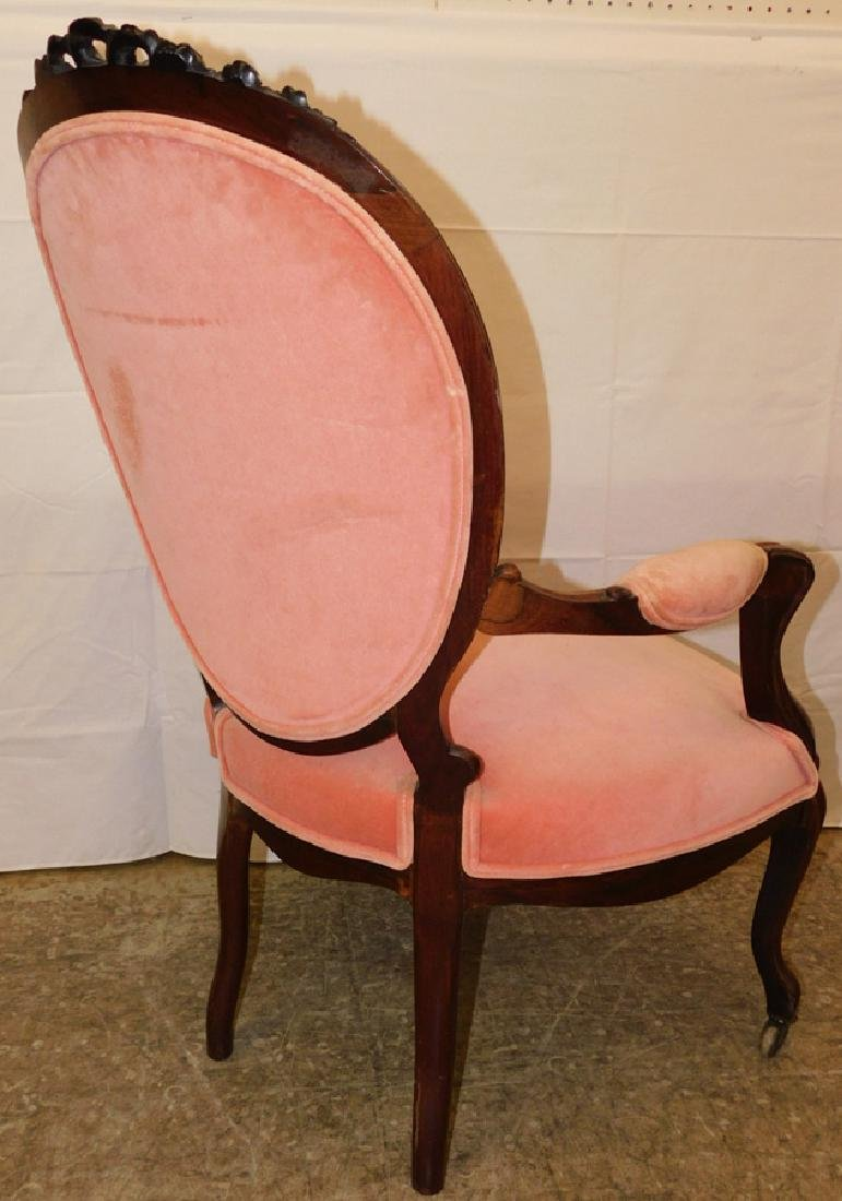 Rosewood carved cameo back Vict arm chair - 4