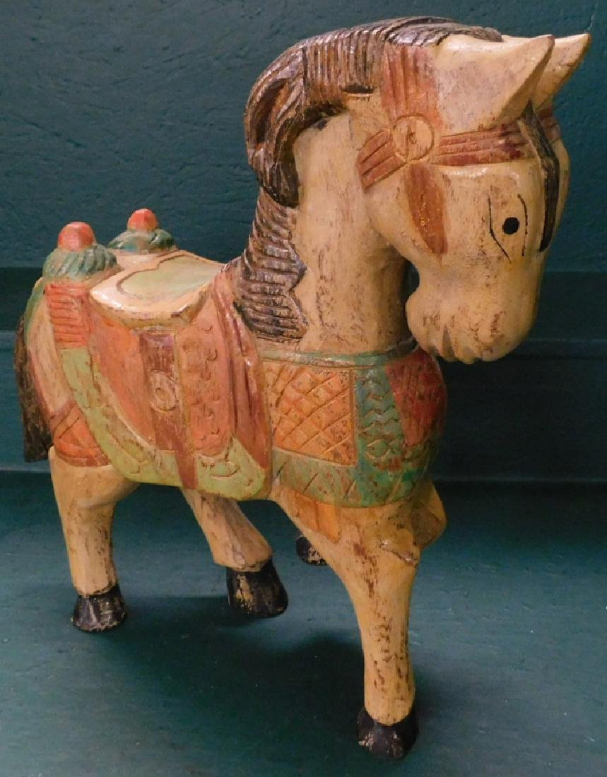 handcarved wooden painted horse