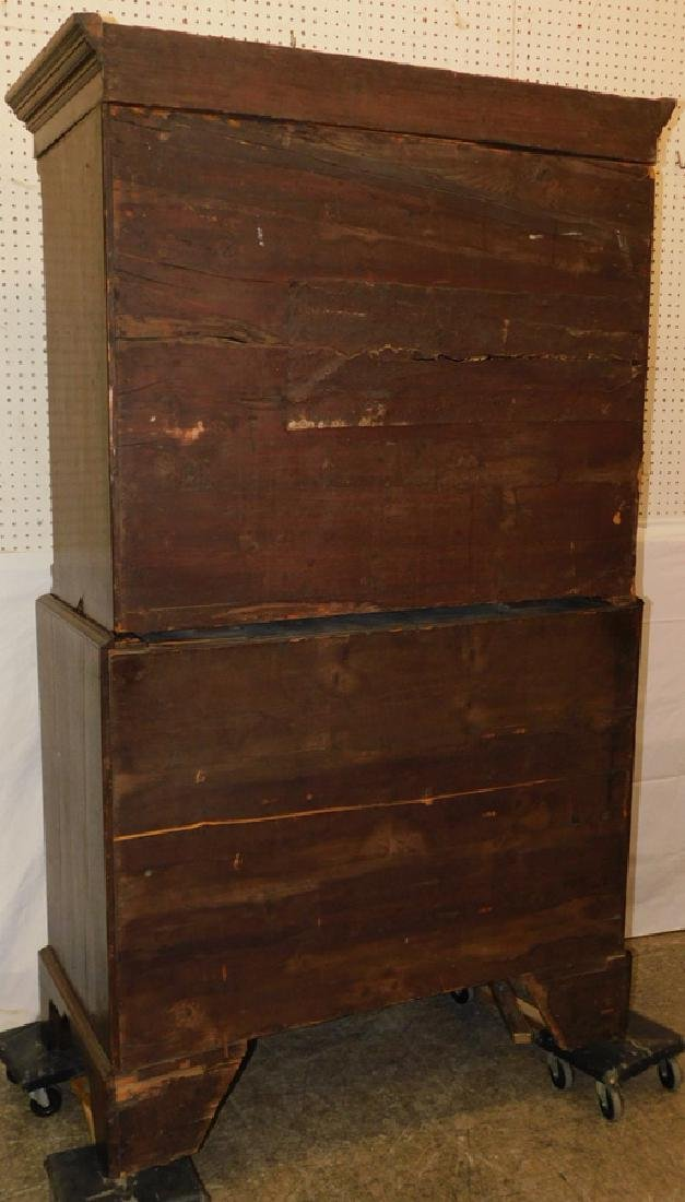 19th century walnut chest on chest - 3