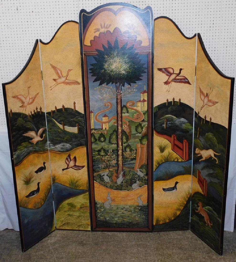 Five-panel folding screen
