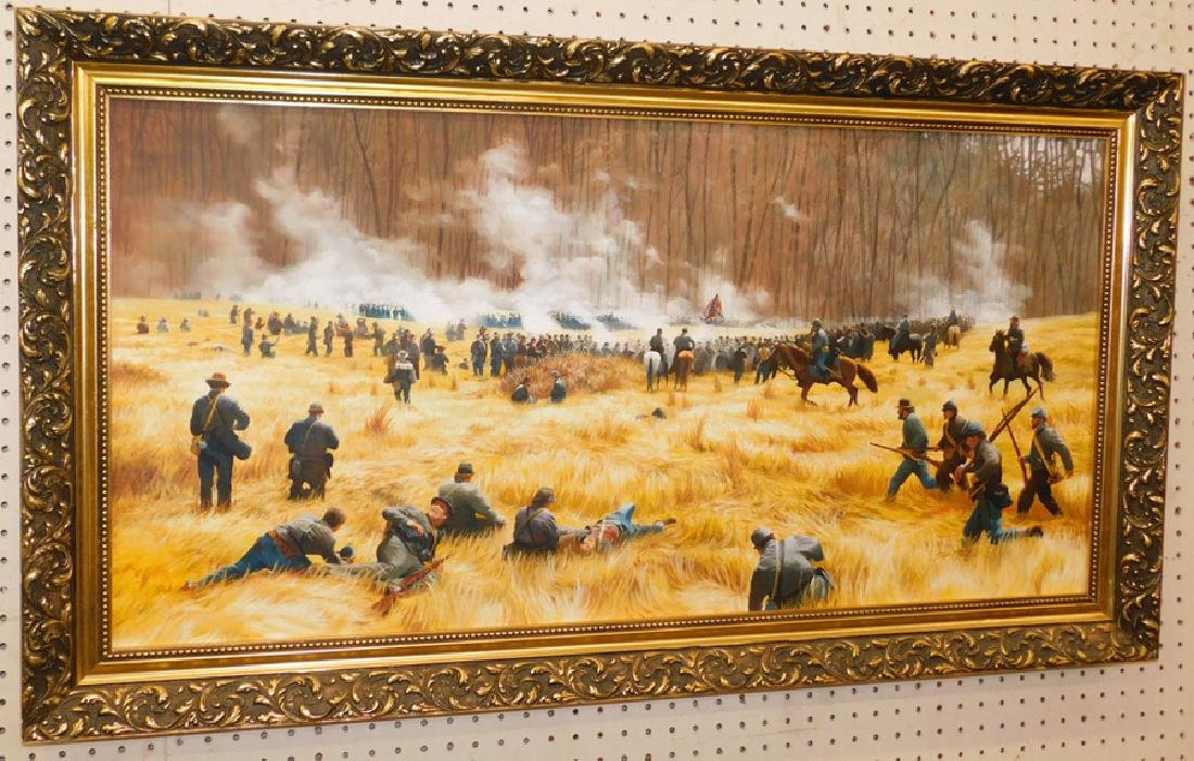 Oil painting of Civil War battle, signed & dated